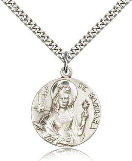 Amazon.com: Plata de ley Medalla de San Bárbara Colgante, 1 ...