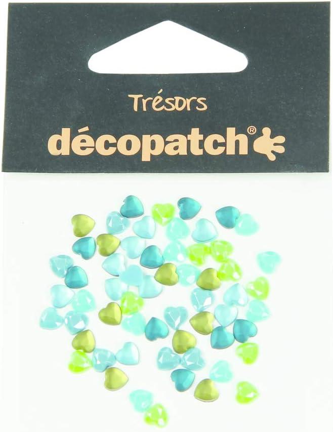 Decopatch 60 Piedras Preciosas - corazón Azul/Verde
