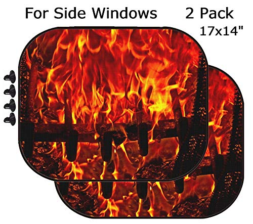 MSD Car Sun Shade - Side Window Sunshade Universal Fit 2 Pack - Block Sun Glare, UV and Heat for Baby and Pet - Image ID: 5769589 Red Fire Flames of Hell Against a Black Background