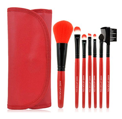 Usstore 7PC Wood Makeup Brush Beauty Brushes Foundation Tool Make Up For Professional Women Lady (Red)