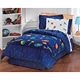8 Piece Outer Space Planet Spaceships Patterned Sheet Set Full Size, Featuring Bold Graphic Print Aeronautic Ships 9 Planets Tiny Stars Bedding, Stylish Modern Style Aero Explorer Kids Bedroom, Navy