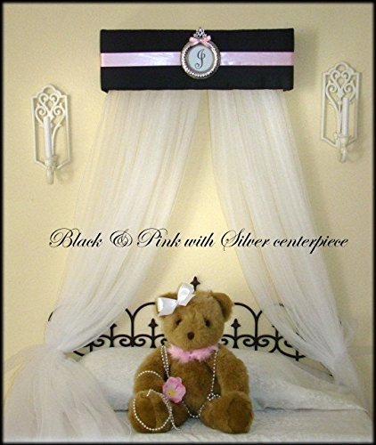 Princess Canopy for Bedroom Black Pink Tiara Crown Nursery Bed Crib Personalized FREE curtains SALE Custom & Amazon.com: Princess Canopy for Bedroom Black Pink Tiara Crown ...