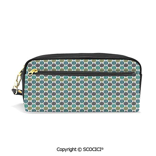 (Students PU Pencil Case Pouch Women Purse Wallet Bag Geometric Oval Shapes Various Styles Lines Swirls Ethnic Tribal Decorative Waterproof Large Capacity Hand Mini Cosmetic Makeup Bag)