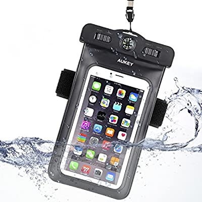 """AUKEY Universal Waterproof Case, Dry Bag (6.0"""" diagonal) with Armband, Compass, Lanyard for iPhone 6 Plus/6/6s/5s, Samsung Galaxy S7/S6 and Other Cellphones"""
