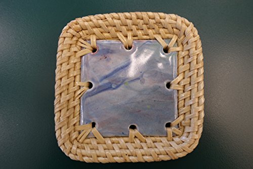 C4 Square Blue Marble Coaster with white rattan frame (Paint Rattan)