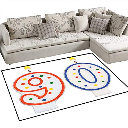 90th Birthday Area Rugs for Bedroom Party Preparations Theme Candles Number Ninety in Red and Blue Color Door Mats for Inside Non Slip Backing 48