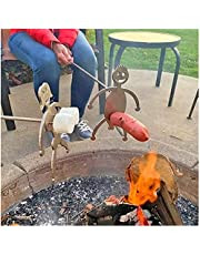 Hot Dog Boy and Marshmallow-Girl Roaster Cooker,Novelty Women Men Shaped Stainless Steel Camp Fire Roasting Stick, Funny Metal Craft Skewer Stick, Barbecue Skewers Forks for Campfire Bonfire Grill.(Two Metal Pieces, Not Including Sticks)