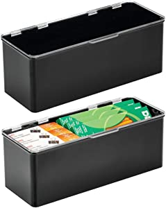 mDesign Plastic Stackable Home, Office Supplies Storage Organizer Box with Attached Hinged Lid - Holder Bin for Note Pads, Gel Pens, Staples, Dry Erase Markers, 2 Pack - Black/Clear