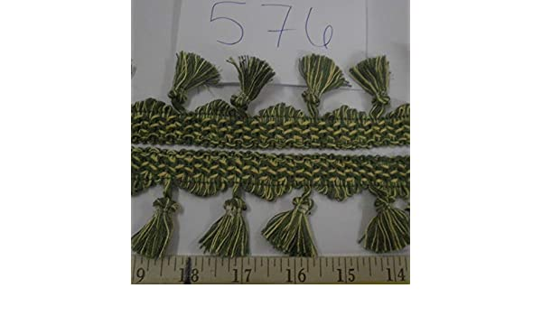 "9 yards ITALIAN TASSEL FRINGE 2 1//4/"" GREEN//YELLOW Fabric Trim A576"