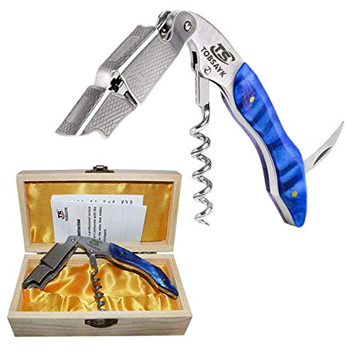 Professional Waiter's Corkscrews by TOBSAYK - Natural Sapphire Resin Handle All-in-one Wine Bottle Opener, Wine Key and Foil Cutter,Perfect Xmas Gift for Sommeliers,Bartenders,Drinkers and Wine lovers (Wine Opener That Doesn T Remove Cork)