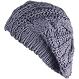 Eforstore Knitted Hats Winter Slouchy Beanie Cable Hat Women Warm Knitting Crochet Slouch Beret Braided Baggy Beanies Ski Cap