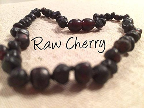 Baltic Amber Teething Necklace for Babies Raw Black Cherry Baby Infant Toddler Drooling Teething Pain Organic Natural Certificated Authentic - Real maximum effective Jewelry Guaranteed.