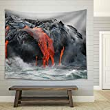 wall26 - Red Hot Lava from Kilauea Volcano on the Big Island of Hawaii - Fabric Wall Tapestry Home Decor - 68x80 inches
