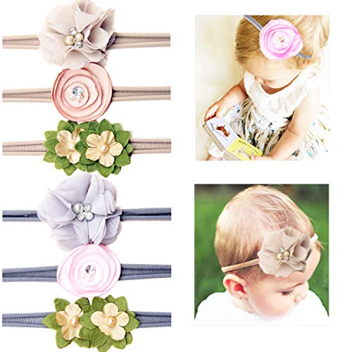 6Pcs Baby Nylon Headbands Boutique Nylon Bows Hairbands with Hand Sewing Beads Flower for Newborns Infants