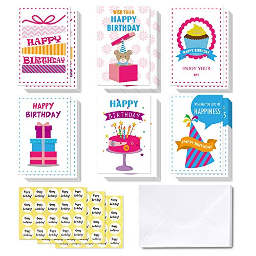 rds, Ohuhu Ohuhu Folded Card for Kids Birthday, Blank Inside Greeting Note Cards W/White Envelopes and Stickers, Candle, Cake, Gift, Bear Designs Card Stocks for Child ()