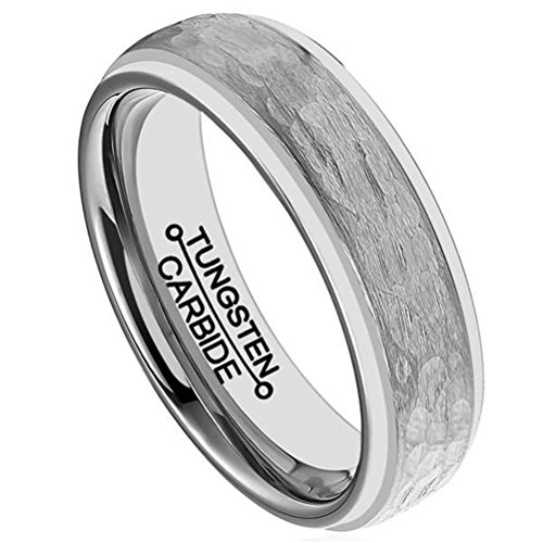 Fashion Month Mens 6mm Silver Tungsten Carbide Ring Handcrafted Hammered Grain Brushed Matte Wedding Engagement Band Size 8.5