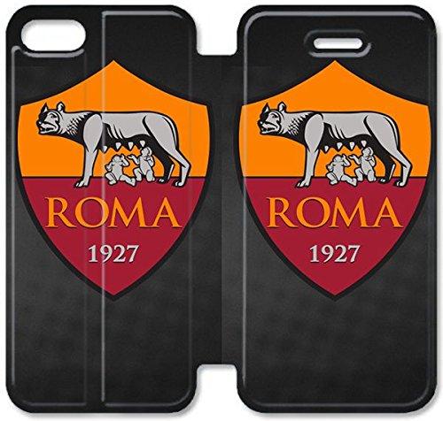 Flip étui en cuir PU Stand pour Coque iPhone 5 5S, bricolage 5 5S cellulaire Phone Coque Case Flip Pu en cuir Stand pour Coque iPhone 5 5S, bricolage 5 étui de téléphone cellulaire 5S As Roma Logo 2 é