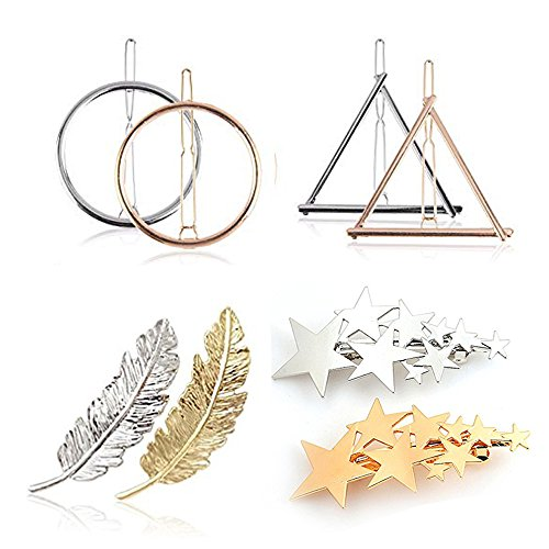 LINDOO Hair Clips for Women - 4 Styles Gold Silver Triangle Circle Leaf Star Hair Pins Barrettes 8pcs (Gold Leaf Circle Pin)