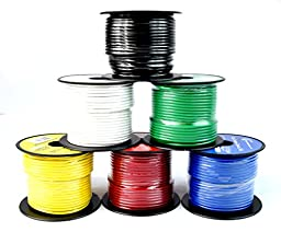 14 GA Single Conductor Stranded Remote Wire 6 Rolls Primary Colors 12V 100\'FT EA