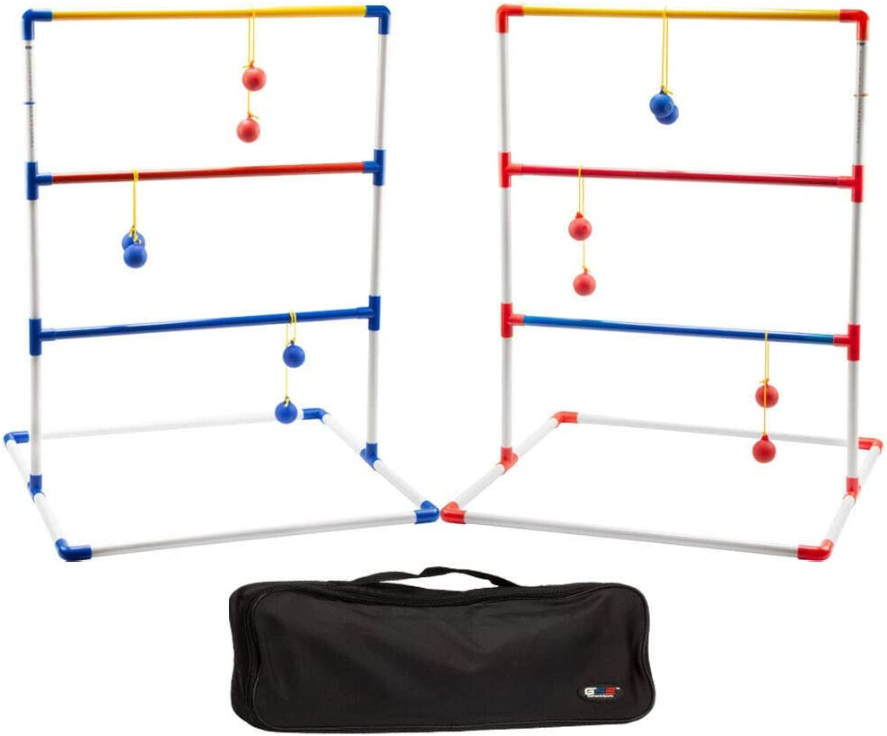 GSE Games & Sports Expert Premium Ladder Golf Ball Toss Outdoor Lawn Game Set with Ladder Ball Bolas & Carrying Case (Plastic Ladder Toss Game Set)