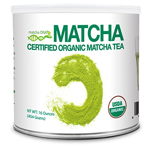Powder Green Tea - MatchaDNA 1 LB Certified Organic Matcha Green Tea Powder (16 OZ TIN CAN)