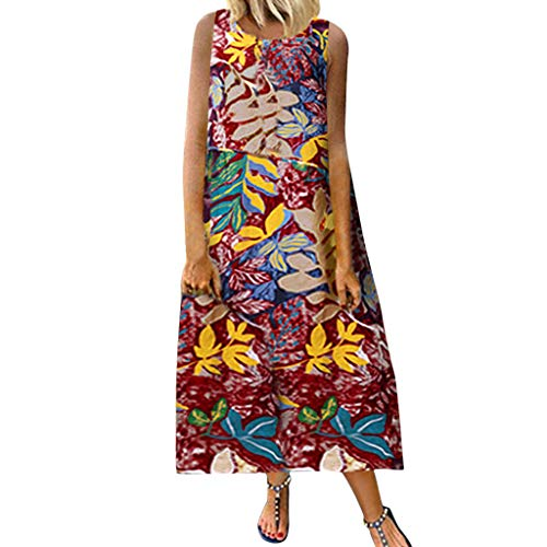 Women's Dresses Vintage African Print Summer Sleeveless Tank Maxi Dress Shift Cotton Casual Loose Beach Long Dress Red