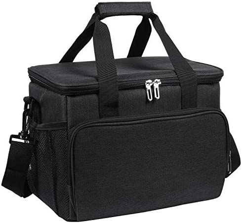 Pintaste Large Lunch Bag for Men/Women - Insulated Lunch Box for Adult - Spacious Lunch Cooler Tote BagMulti-Pockets and Adjustable Shoulder Strap for Office Work School Picnic Black