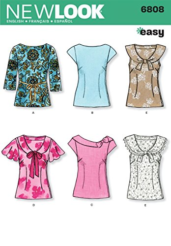 New Look Sewing Pattern 6808 Misses Tops, Size A (8-10-12-14-16-18) - $10.16
