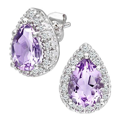 Revoni Bague en or blanc 9carats-Diamant et Améthyste en Forme de Goutte Boucles d'oreilles