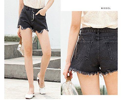 Jeans Caldi Con Donna Nero Di Pantaloni Nappine Hellomiko Da Pantaloncini vqHwHBS