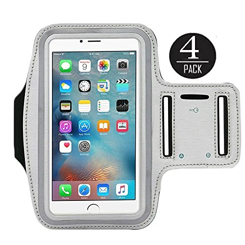 [4 Pack]Water Resistant Sports Armband CaseHQ for iPhone 7/7 Plus, 6/6S Plus (5.5-Inch), Galaxy S6/S7 Edge, y Note 5, with Key Holder/ Flap High Visibility Night Reflective Running Exercise Armband