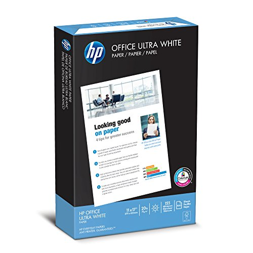 HP Printer Paper, Office20 Paper, 11x17, Ledger Size, 20lb, 92 Bright, 1 Ream / 500 Sheets (172000R) Acid Free - 17 11 X Paper