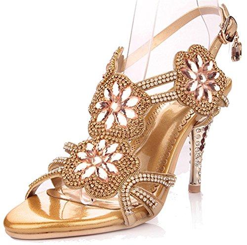 Garyline Womens Glitter Strappy Slingback?Sandal Rosette Dress Sandals Wedding Sandal High Heel Gold3 B(M) US (Rosette Sling)