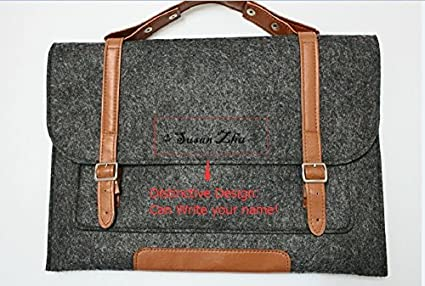 26409793ba2f Felt Case Leather Bag Sleeve with Leather Strap Magnetic Button Suitable  For Any Notebook