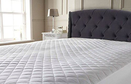 Extra Deep T200 Egyptian Cotton Quilted Mattress Protector with Cotton Lining (4ft Small Double) Linen Galaxy