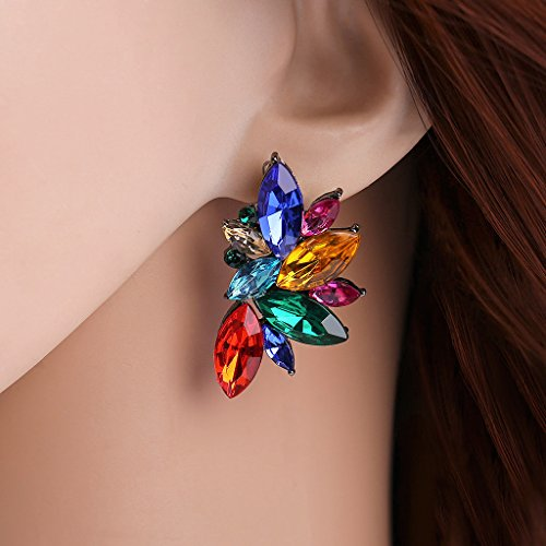 Kofun Earrings, Colorful Floral Leaf Shape Stud Earring Teardrop Design Crystal Earrings Women Color
