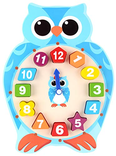 Elloapic Wooden Animal Design Teaching Clock Time Number Learning with Shape Match Block (Owl)