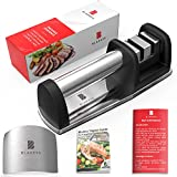 Kitchen Knife Sharpener by Bladess | Best Knife Sharpening Kit + Stainless Steel Adjustable Finger Guard for Cutting + Bladess' Digital Guide for a Healthier Version of You