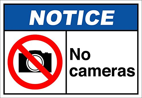 No Cameras Notice OSHA/ANSI Aluminum Metal Sign 24 in x 18 in Custom Warning & Saftey Sign Pre-drilled Holes for Easy mounting