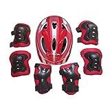 Icemaris Boy Girls Kid 7pcs Skating Bike Ski Protective Gear Safety Helmet Knee Elbow Pad Set (Red)