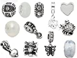 Set of 12 White and Crystals Stater Charms Fits Pandora Jewelry