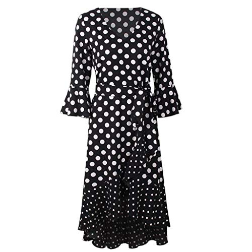 Vintage Dot Long Dress, Women Elegant V-neck Party Dress Print Bell Sleeve Belt Slim Dresses Fashion Irregularity Knee Dress lkoezi