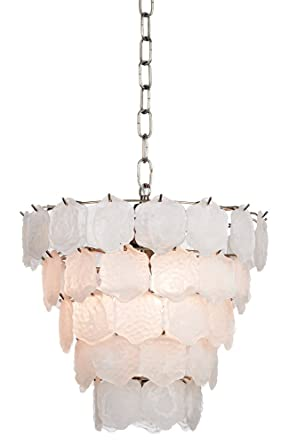 Capiz style white glass chip 12 wide small chandelier amazon capiz style white glass chip 12quot wide small chandelier aloadofball Choice Image