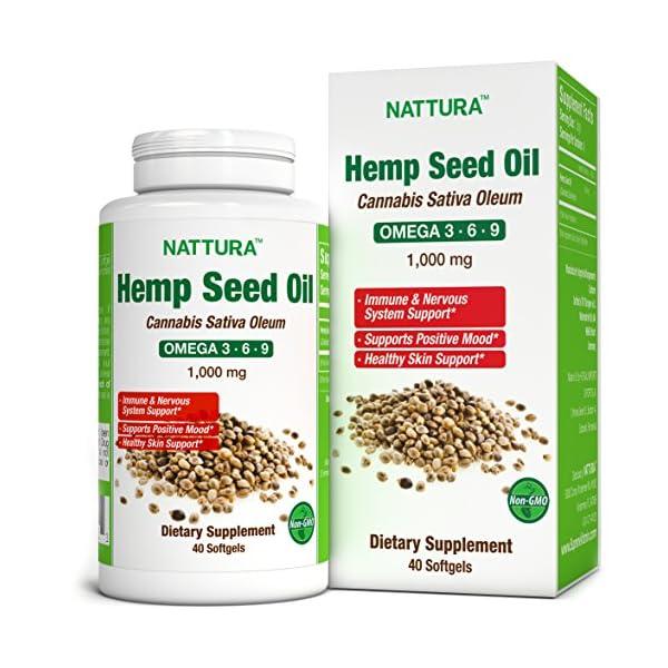 Hemp Oil 1000 mg (Cannabis Sativa Oleum)* 100% Pure Cold Pressed Hemp Seed Oil* Omega 3-6-9* Non-GMO, Certified Kosher, cGMP – 40 Softgels