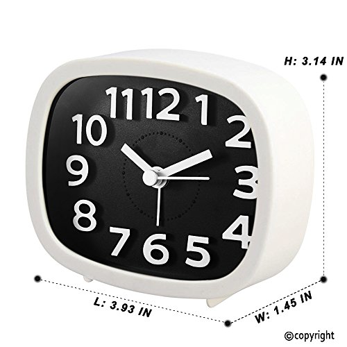 KOEPUO Silent Travel Alarm Clock, Simple Battery Operated Bedside Clock Non Ticking with Night Light Morning Clock for Home Bedroom Office Kids Men Women by KOEPUO (Image #1)