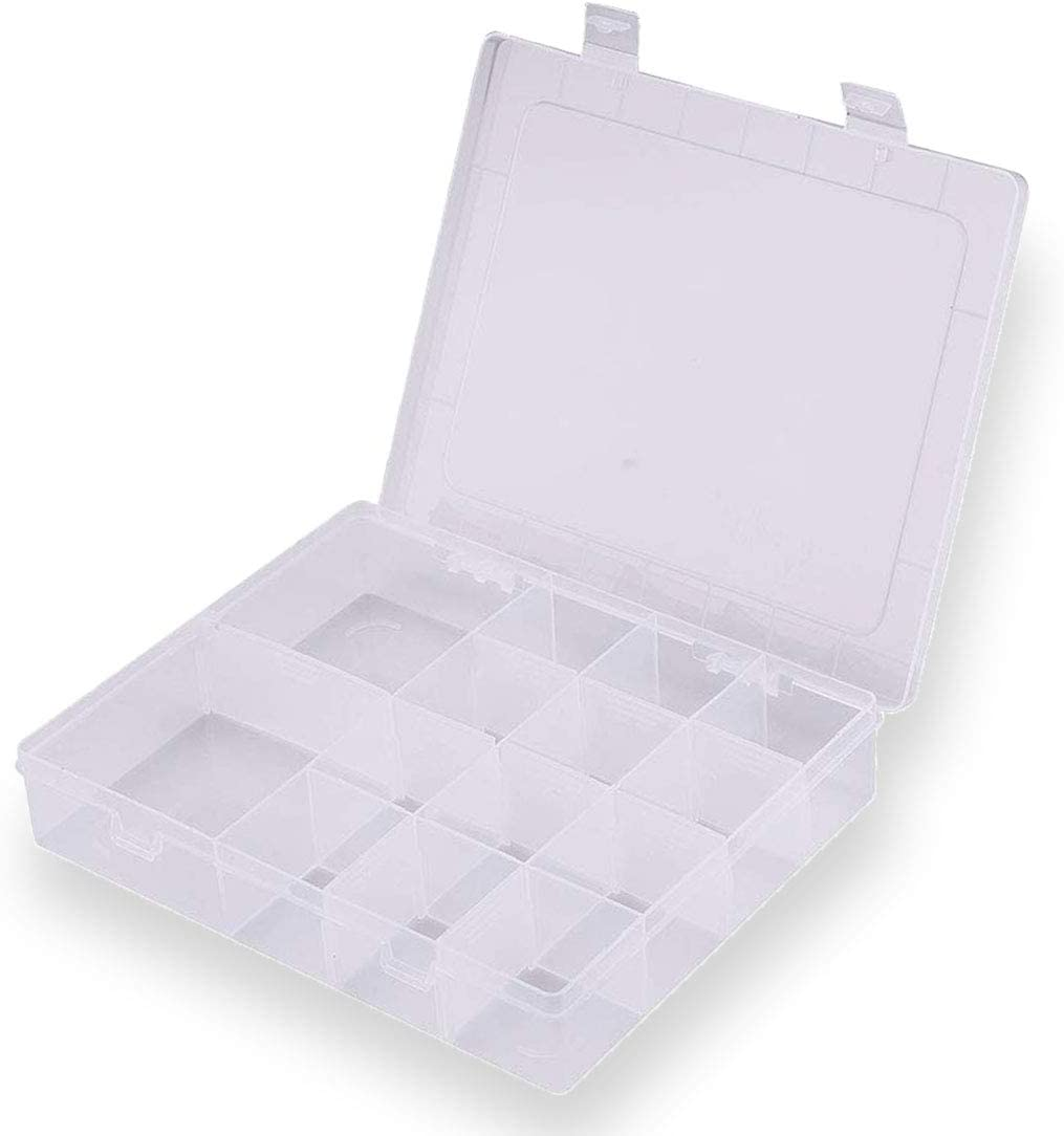 LIPROFE Plastic Organizer Box with Adjustable Dividers 14 Compartment Clear for Jewelry Bead Storage Letter Board Letters Fishing Tackle