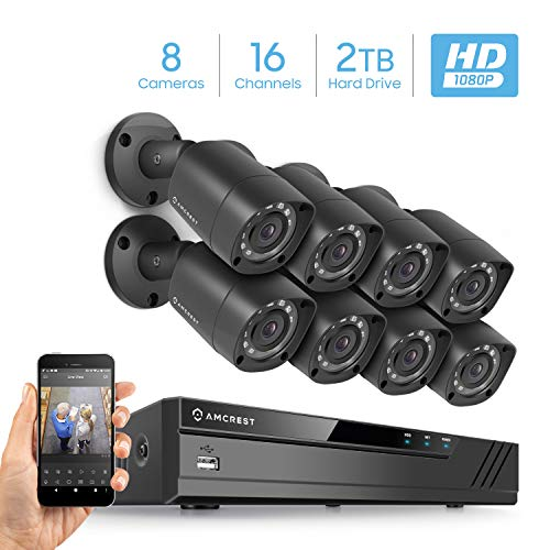 Amcrest Full-HD 1080P 16CH Video Security System w/ Eight 2.0MP (1920TVL) Outdoor IP67 Bullet Cameras, 66ft Night Vision, Hard Drive Not Included, (AMDV108116-8B-B)