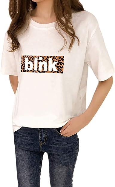 Qingsiy Camisetas Mujer Blusa Suelta De Mujer Manga Corta Camiseta con Estampado Tops Casuales Camisa Escote del O-Cuello Top De La Moda Mujer Deporte De Camiseta Tops Mujer Verano: Amazon.es: Ropa y