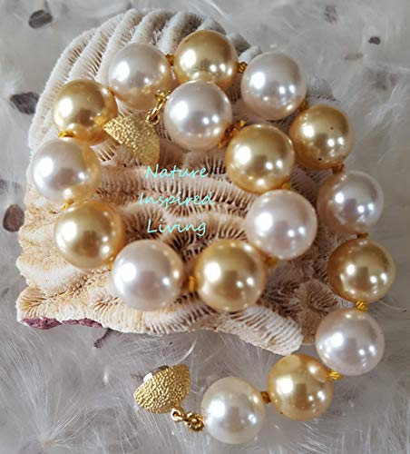 Deep Gold and White Multicolor Pearl Bracelet Handknotted 10mm Simulated Swarovski Pearls