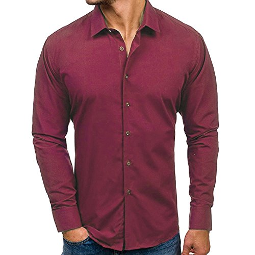 iHPH7 Shirts for Men Regular-Fit Long-Sleeve Shirt Autumn Casual Formal Slim Fit Solid Long Sleeve Dress Shirt Top Blouse (XL,2- Red) (Hello Kitty Galaxy Core 2)